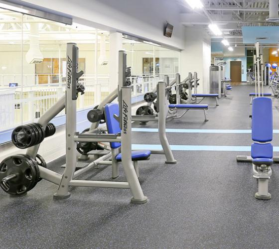 Interior view of the Sault College fitness centre.