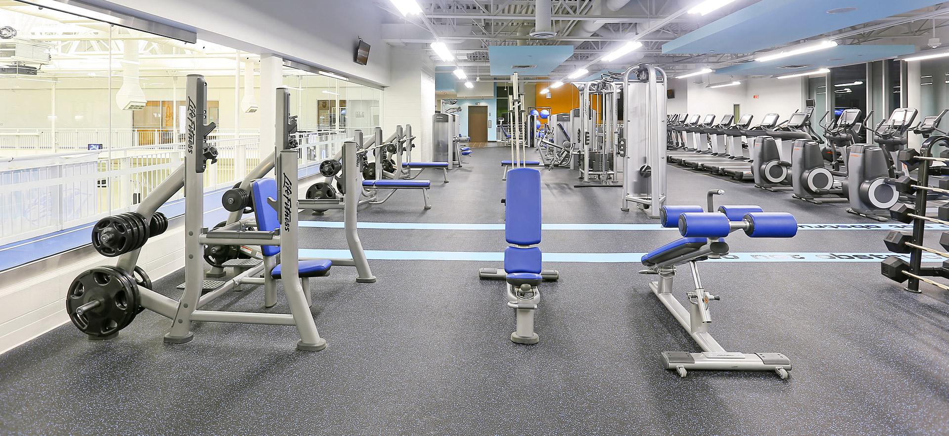Interior view of the Sault College Fitness area.